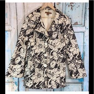 Arden B. Brown Cream Floral Stretch Lined Car Coat